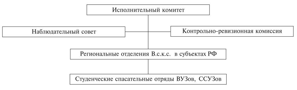 Структура Всероссийского студенческого корпуса спасателей