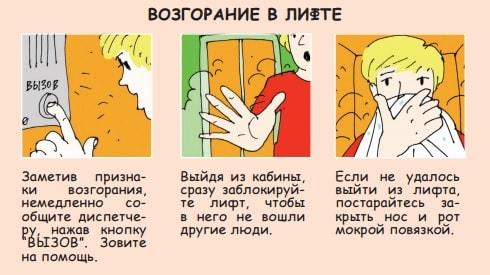 Возгорание в лифте