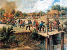 Гравюра. Пожар в деревне (ХIХ век)