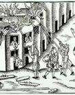 Гравюра. Тушение пожара (Англия, 1617 год)