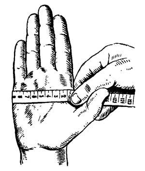 Измерение руки по пятому пястно-фаланговому суставу