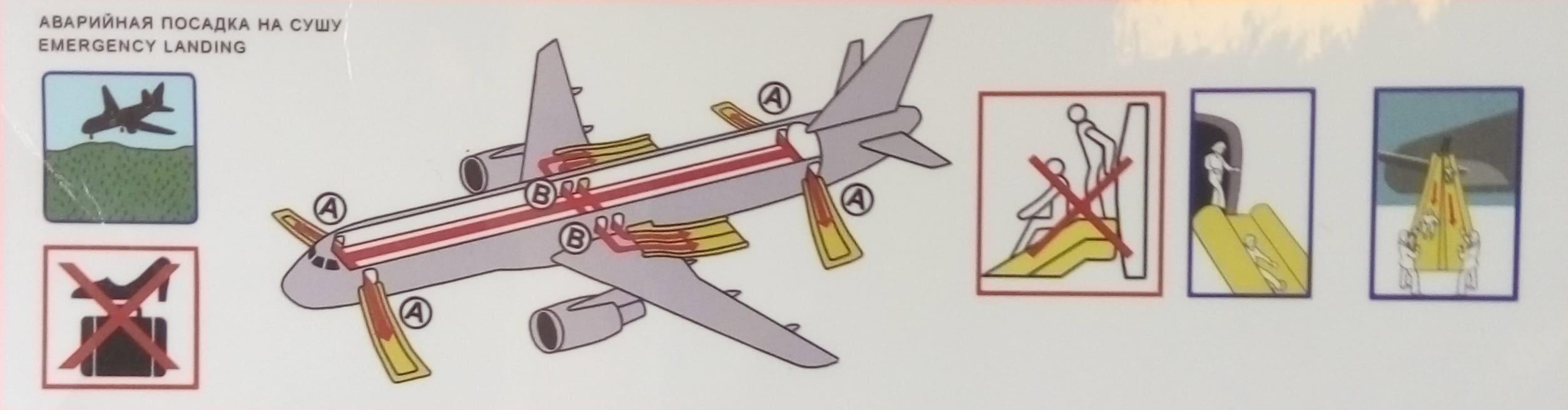 При посадке самолета на сушу