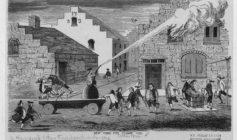 Заполнение пожарной трубы ведрами и тушение пожара (Нью-Йорк, XVIII век)