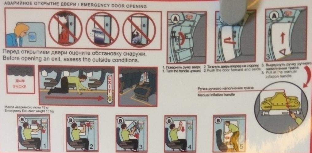 Аварийное открытие двери в самолете