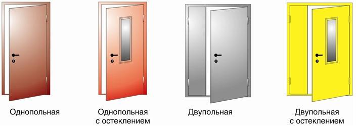 Однопольные и двупольные противопожарные двери