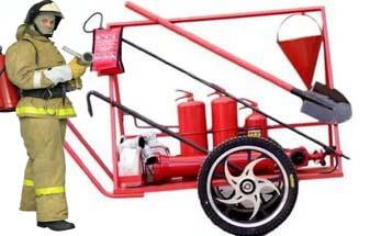 Щит пожарный передвижной на базе одноосной тележки