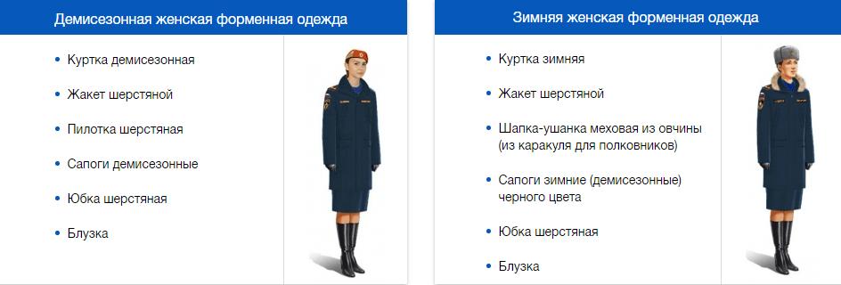 Зимняя и демисезонная форма одежды женская