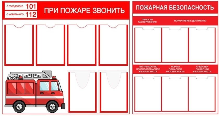 Пример стенда по пожарной безопасности в школу