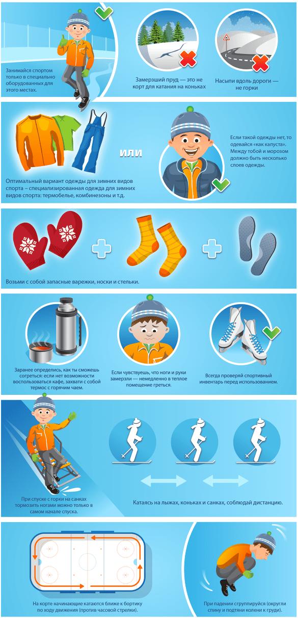 Правила для детей при занятии спортом зимой