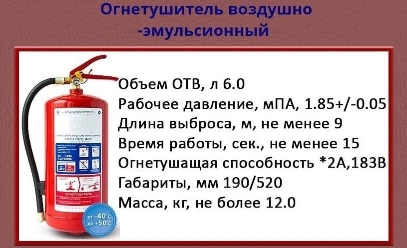 Воздушно эмульсионный огнетушитель ОВЭ-6(З)-АВЕ
