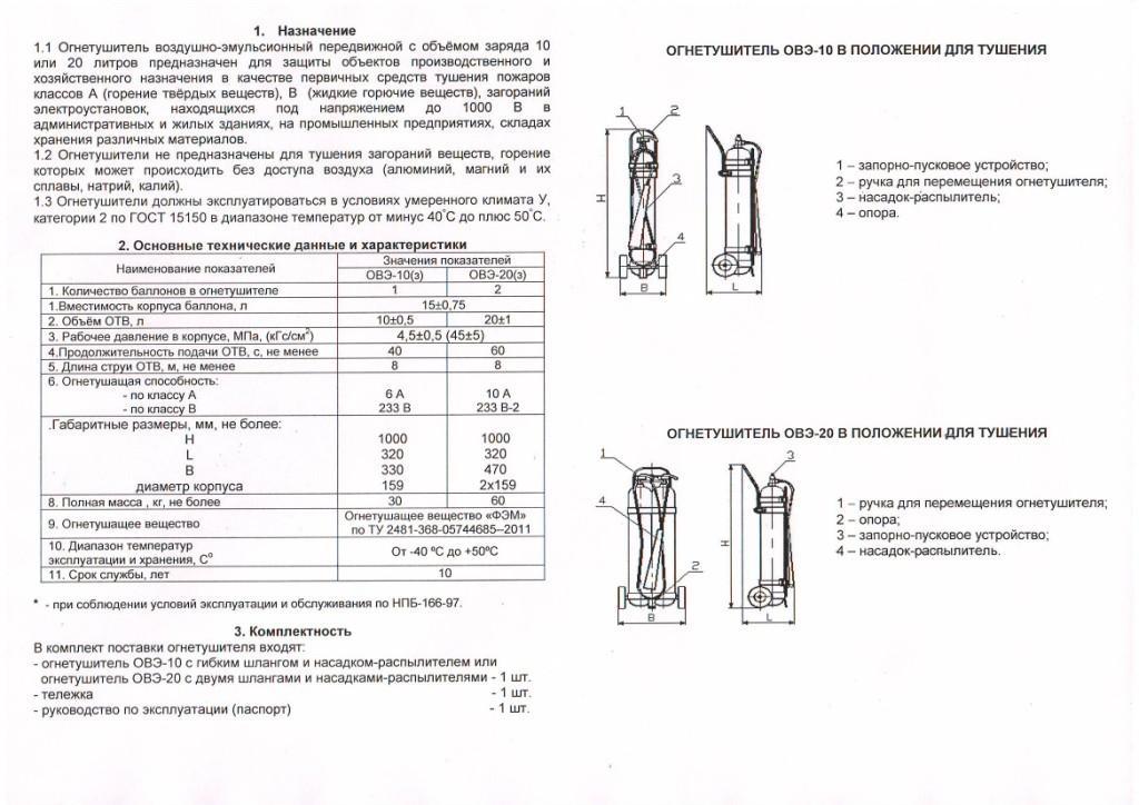 Технические характеристики ОВЭ-10 и ОВЭ-20