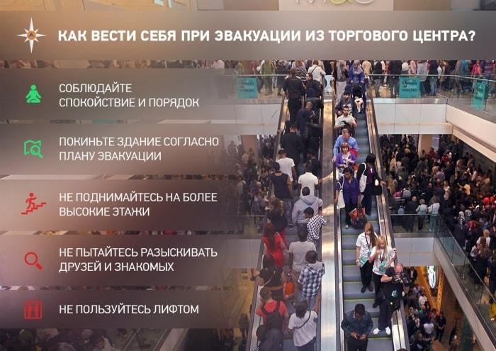 Рекомендации МЧС России по эвакуации из торгового центра