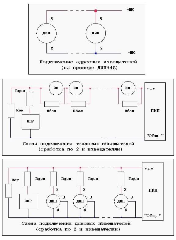 Примеры схем подключения проводных извещателей