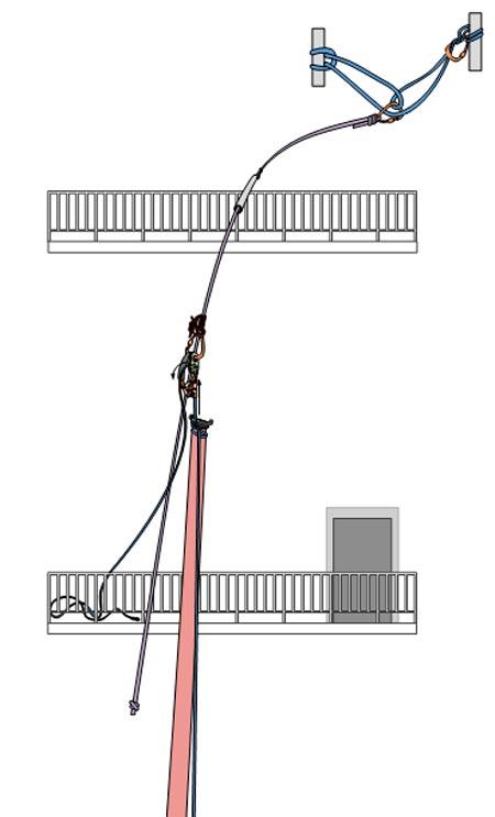 Гибкая анкерная линия на балконном ограждении
