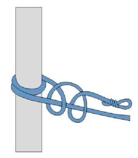 Закрепление спасательной веревки за конструкцию