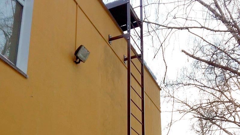 Вертикальная пожарная лестница с ограждением типа П1-1