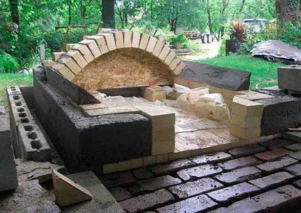 Монтаж печи с использованием огнеупорного бетона