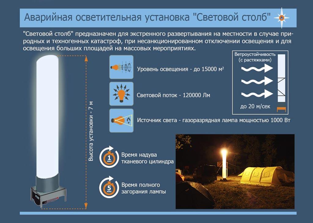 Аварийная осветительная установка Световой столб