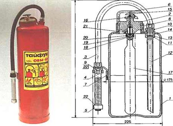 Огнетушитель водный мелкодисперсный ОВМ-10
