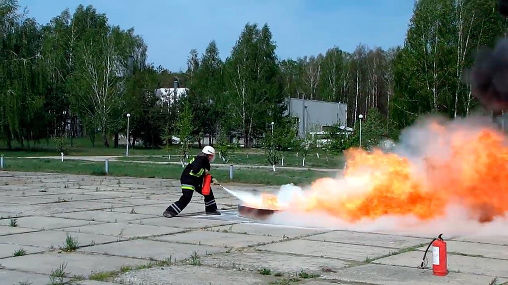 Тушение модельного очага пожара