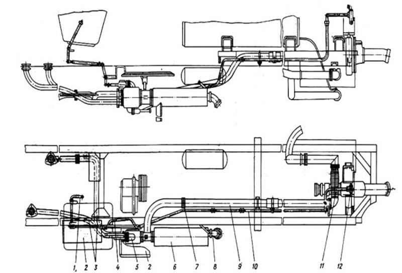 Схема выпуска отработавших газов пожарной автоцистерны АЦ-40(431410)63Б