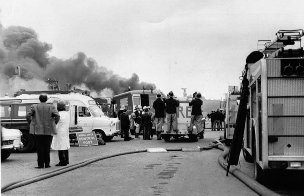 Проезд к пожару 1 июня 1974 года Фликсборо
