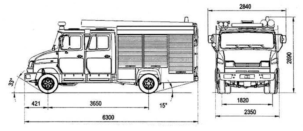 Схема пожарной автоцистерны АЦ-0.8-40/2 (530104)