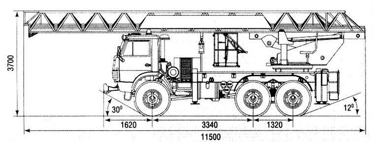 Чертеж автолестницы АЛ-30 (43114) 512Б