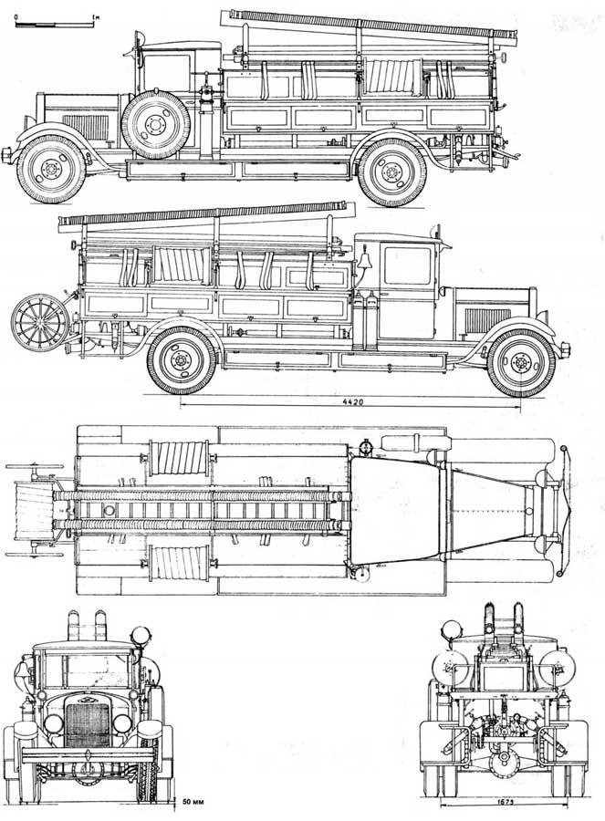 Схема пожарной машины ПМЗ-1