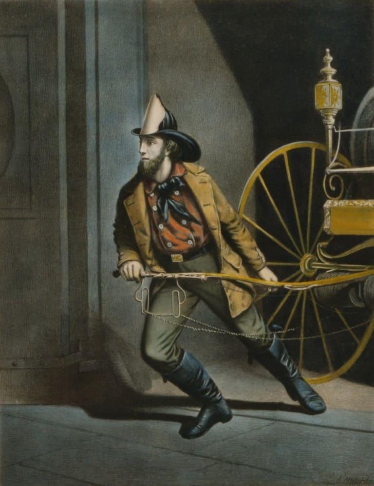 """Серия гравюр """"Американский пожарный"""" (The American Fireman). Всегда готов (Always Ready). Луис Маурер, 1858 год."""