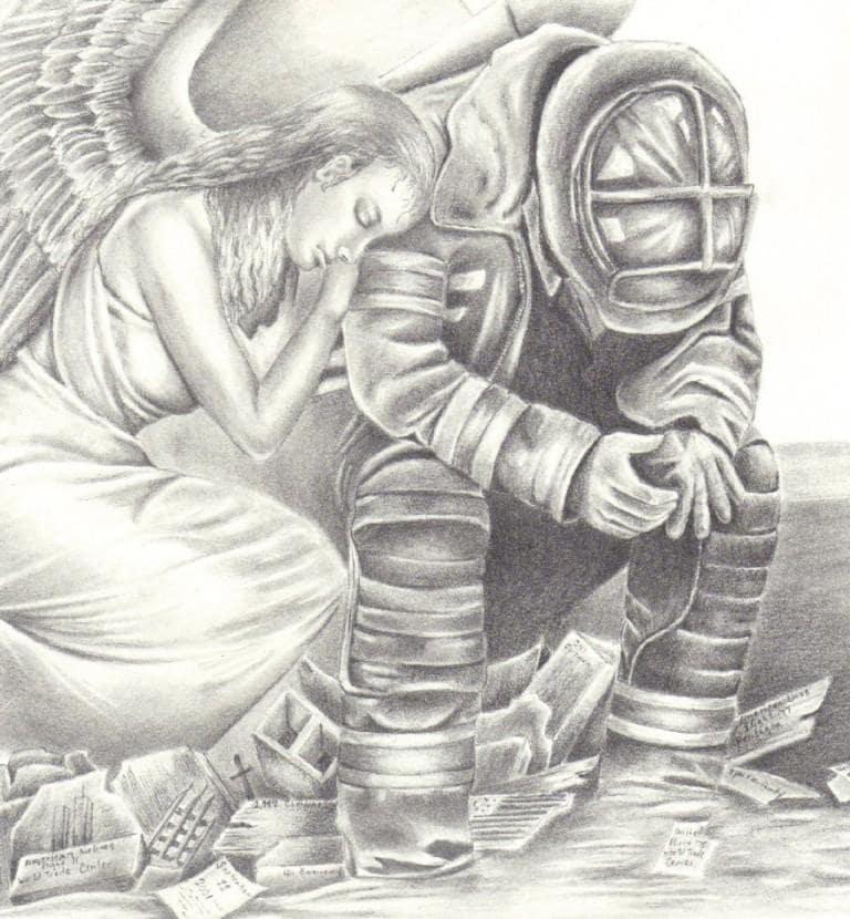 Ангел и пожарный Фэн-арт