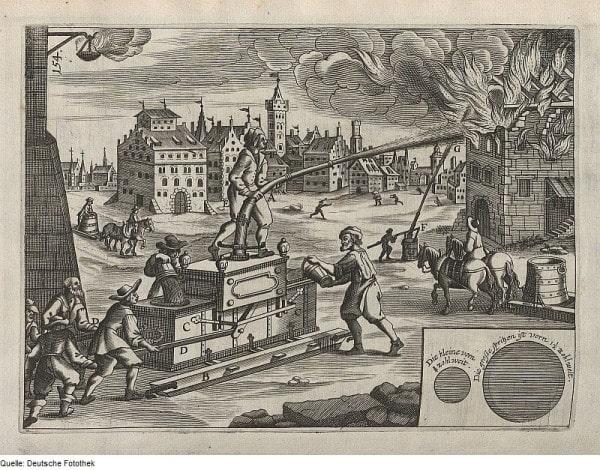 Борьба с пожаром с помощью противопожарного устройства (Brandbekampfung mit einem Feuerloschgerat), Furst, Paul & Gerhard, Christoph, Verleger, 1661 год