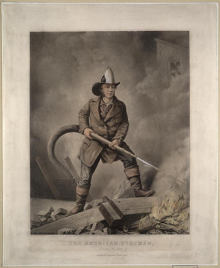 """Серия гравюр """"Американский пожарный"""" (The American Fireman). Лицом к врагу (Facing the enemy). Луис Маурер, 1858 год."""