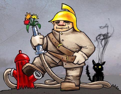 Карикатура пожарный
