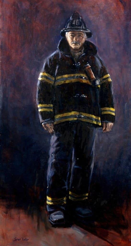 Лицо храбрости портрет шефа пожарных