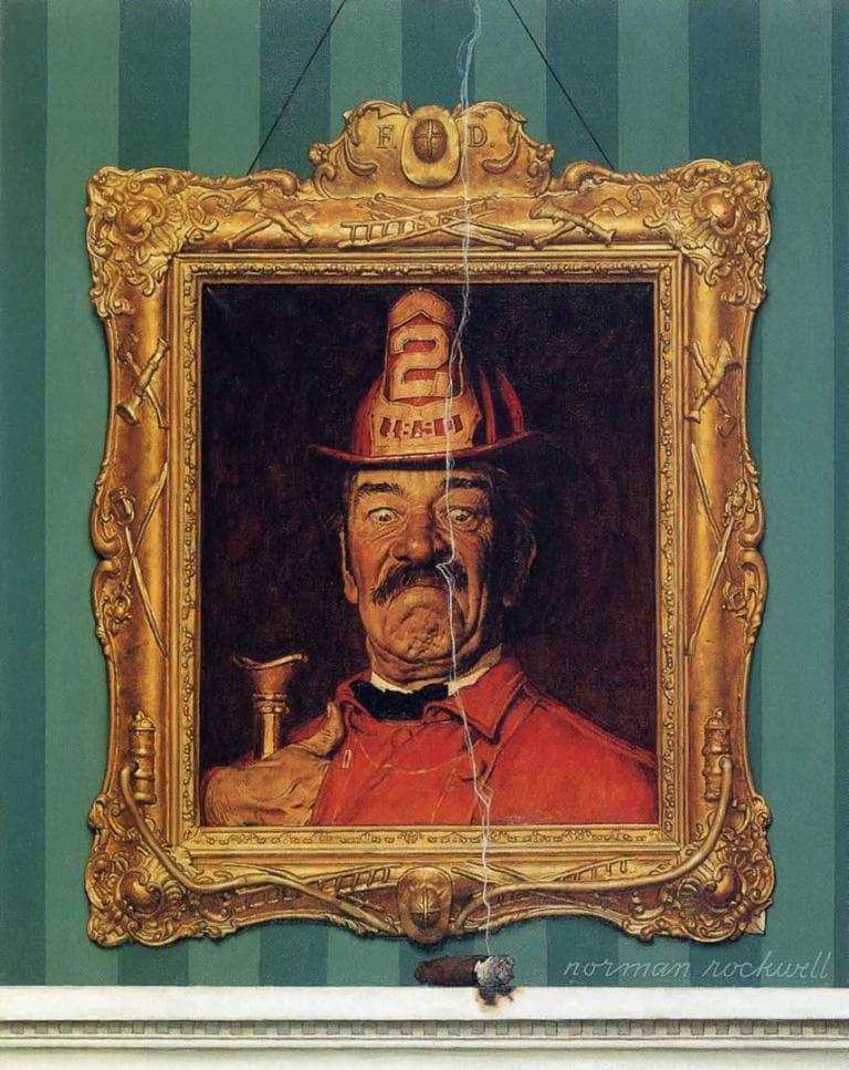 Портрет пожарного и дымящейся сигары