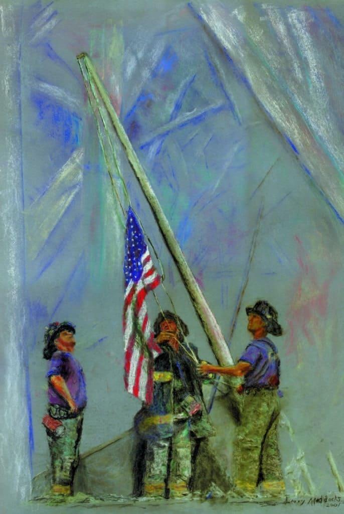 Пожарные поднимают флаг