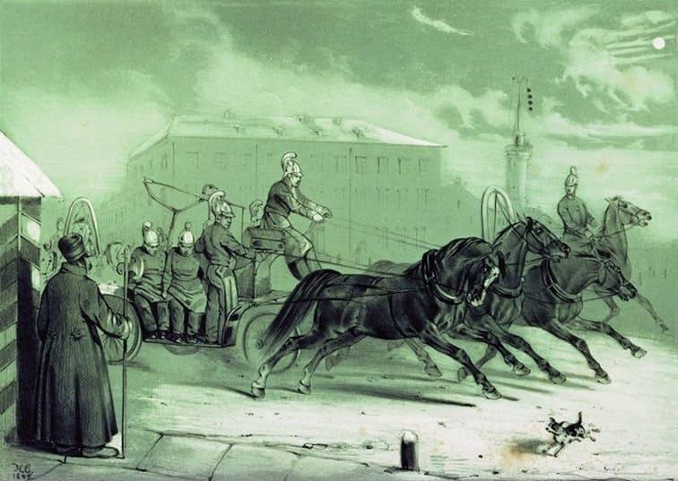 Пожарные в Санкт-Петербурге ночью. Сверчков Н.Е. 1845 год.