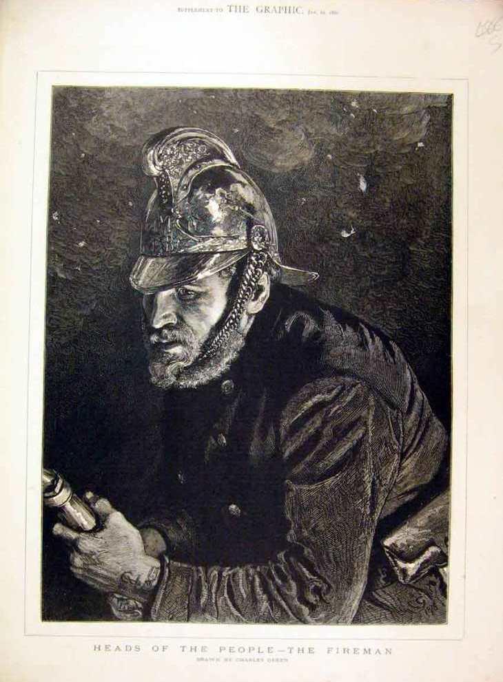 """Гравюра """"Пожарный"""" из серии """"Головы людей"""", Чарльз Грин, 1880 год."""