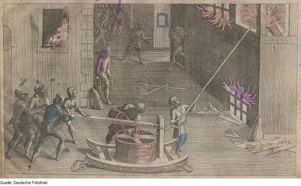 Пожарный насос со стволом (Feuerloschspritze), Pacard, Abraham, Verleger, 1615 год