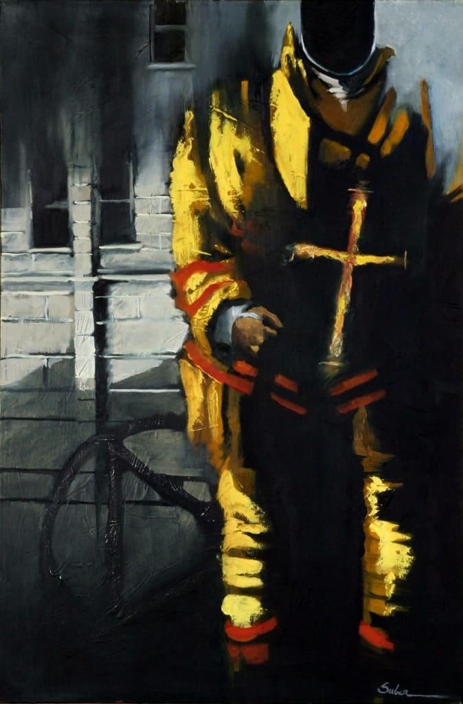 Пожарный в образе современного рыцаря
