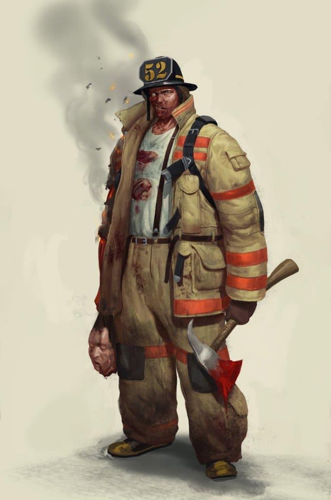 Пожарный в образе зомби