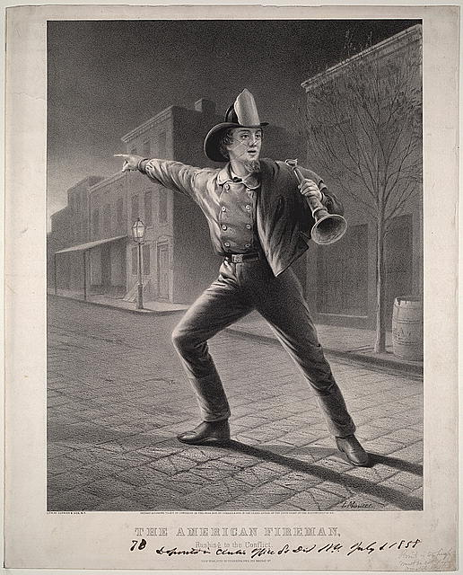 """Серия гравюр """"Американский пожарный"""" (The American Fireman). Спешка на пожар (Rushing to the Conflict). Луис Маурер, 1858 год."""