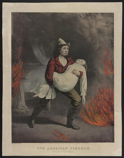 """Серия гравюр """"Американский пожарный"""" (The American Fireman). Быстрое спасение (Prompt To The Rescue). Луис Маурер, 1858 год."""