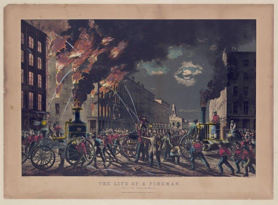 "Серия гравюр ""Жизнь пожарных"" (The Life of Firemen). Новая эра - пар и мускулы (The new era, steam and muscle ). Чарльз Парсонс, 1861 год."