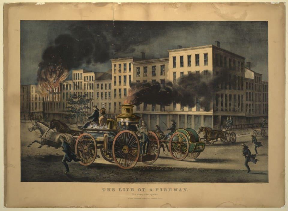 """Серия гравюр """"Жизнь пожарных"""" (The Life of Firemen). Городская система (The Metropolitan System). Джон Кэмерон, 1866 год."""