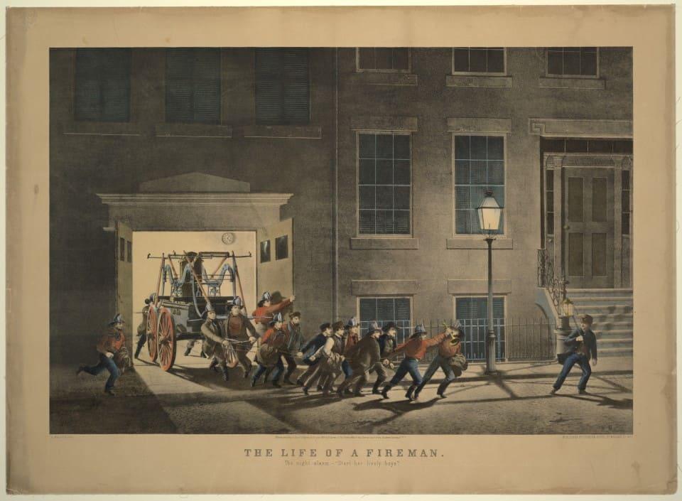 """Серия гравюр """"Жизнь пожарных"""" (The Life of Firemen). Ночная тревога (The night alarm - """"Start her lively boys."""" ). Луис Маурер, 1854 год."""