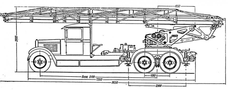 Автолестницы ПЭЛ-30 на шасси ЗиС-6