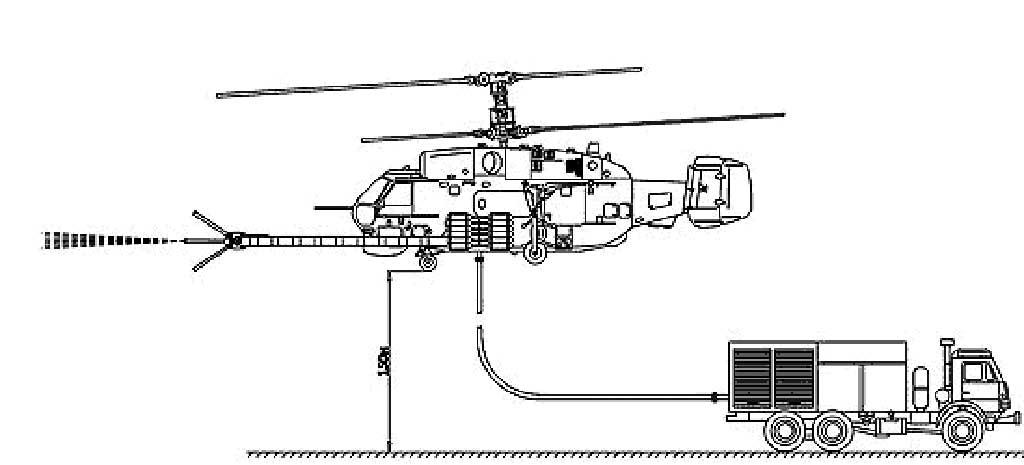 Работа вертолета и пожарного автомобиля