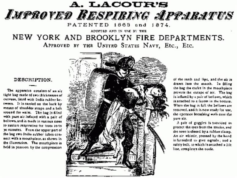 Реклама аппарата Лакура, 1863 год